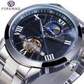 Forsining классические мужские механические часы с турбийоном модный бренд черный Moonphase бизнес стальной ремешок автоматические часы Reloj Hombre