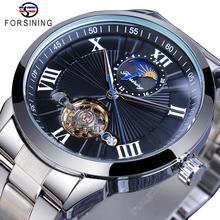 Forsining Classic Men Tourbillon Mechanical Watch Fashion Brand Black Moonphase Business Steel Band Automatic Clock Reloj Hombre все цены