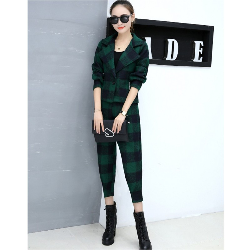 2019  Autumn  Winter Women's Sweet Paid Wool Jacket Ladies Small Suit Woolen Harem Pants 2 Sets Casual Fashion   Sets