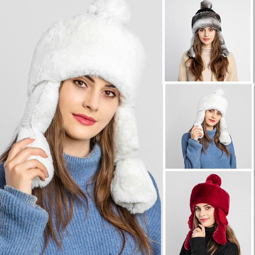 Women Hat Winter Artificial Fluffy Hat Warm Cap Windproof Hat With Ear Flaps For Outdoor Warmth Christmas Holiday Birthday Gift