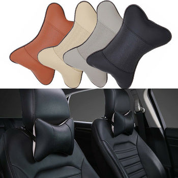 1pc Travel Car Auto Seat Head Neck Rest PU Leather Cushion Pad Headrest Pillow Head Neck Rest Cushion Pillow image