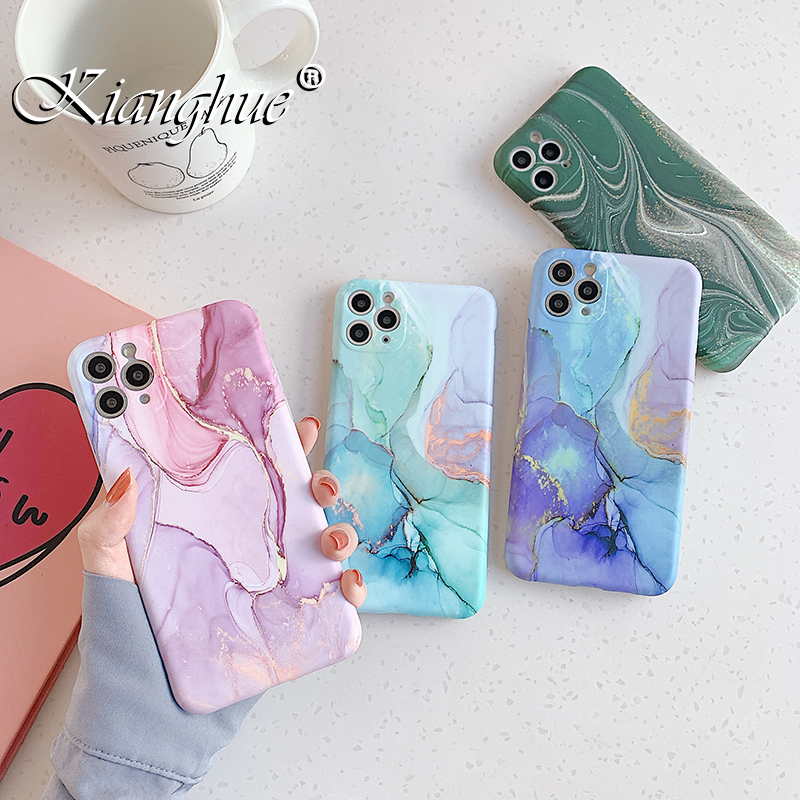 Marble Silicone Soft Case For Iphone Se 2020 11 Pro Xs Max X Xr Camera Full Cover Protection Case For Iphone 7 8 Plus Shockproof