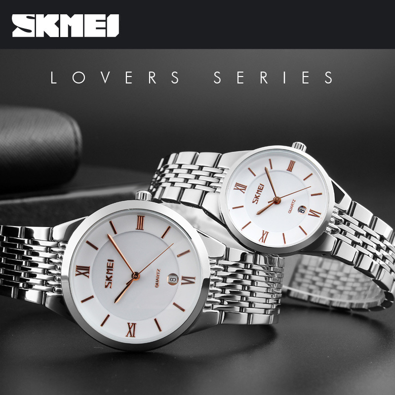 SKMEI Luxury Stainless Steel Women/men Couple Watches Simple Elegant Waterproof Lover Wristwatches For Gifts Relogios Feminino
