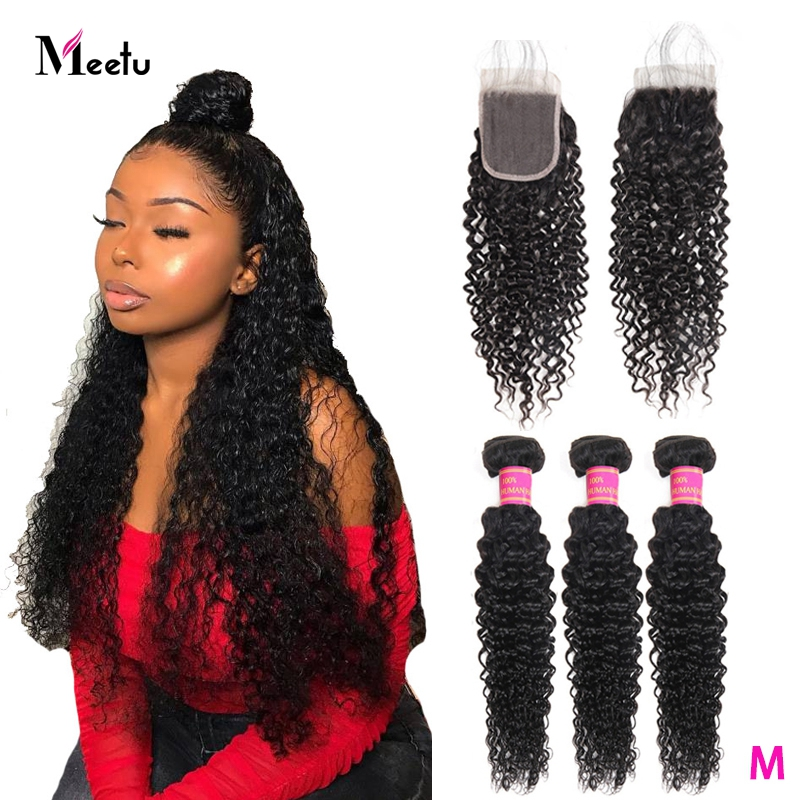 Meetu Kinky Curly Bundles With Closure Brazilian Hair Weave Bundles With Closure Non Remy 3PCS Human Hair Bundles With Closure