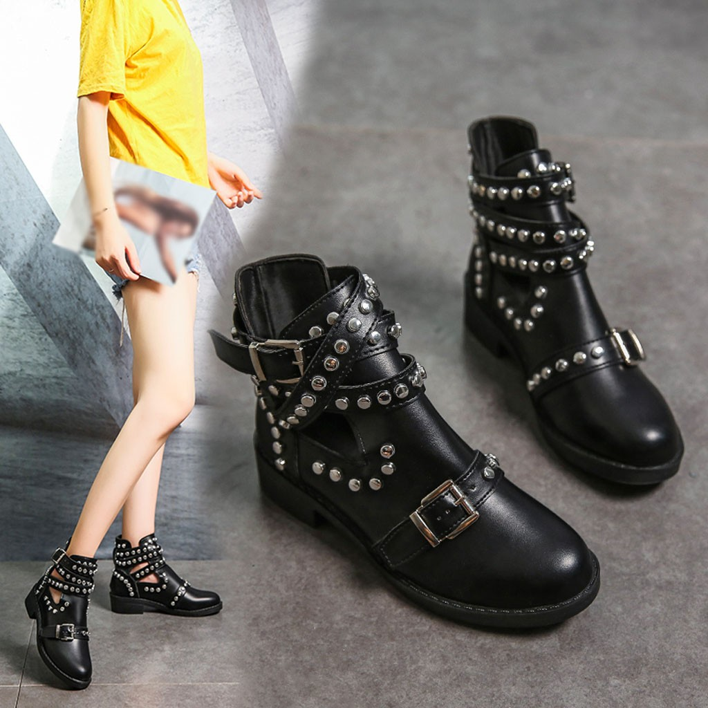 JAYCOSIN Fashion Women's Boots Hot Sale Rivet Belt Buckle Ankle Boot Spring Autumn Female Student Casual Quality Pu Leather Boot