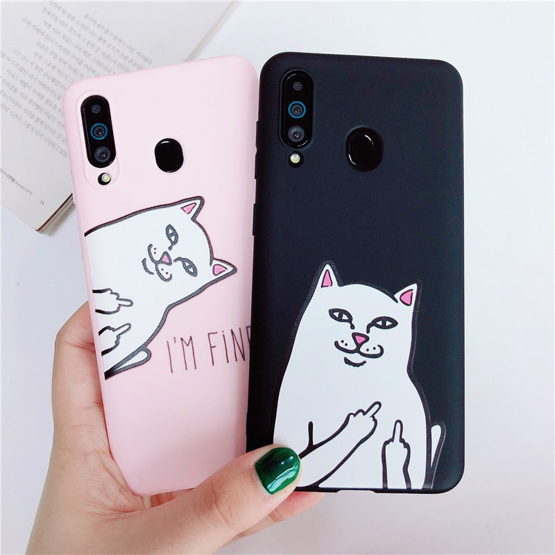 Cartoon Finger <font><b>Cat</b></font> Silicone <font><b>Case</b></font> for <font><b>Samsung</b></font> <font><b>Galaxy</b></font> A10 A20 A30 A40 A50 A60 A70 A80 M10 M20 M30 M40 A6 <font><b>A8</b></font> A7 J4 J6 J8 <font><b>2018</b></font> Cover image