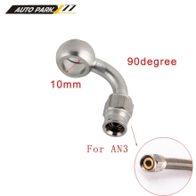 AN3 10 мм нержавеющая сталь 90 градусов банджо глаз тормозной шланг фитинг PTFE концы шланга адаптер для авто