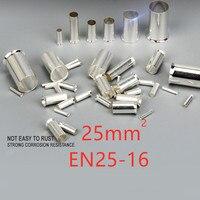 25mm/EN25-16 4 awg 50/100 pcs 비 절연 와이어 커넥터 페룰 전기 케이블 터미널 구리 베어 주석 도금 압착 단자