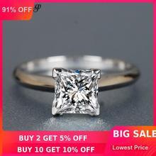 Choucong классическое Настоящее 925 пробы Серебряное кольцо Принцесса огранка 1ct AAAAA Циркон Обручальное кольцо кольца для мужчин и женщин