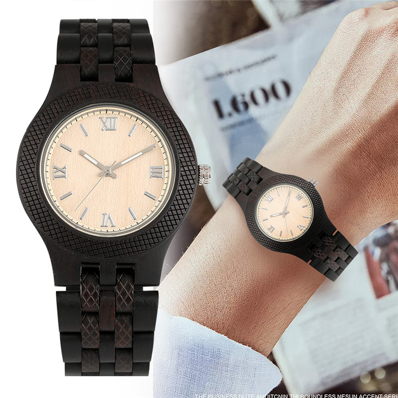 Mens Wooden Wtistwatch Ebony Maple Quartz Analog Simple Natural Male Clock Top Brand 2019 Relojes Para Hombre