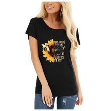 2020 Summer Women's Fashion Sunflower and Letter Print Women Casual T-shirt Plus Size graphic tees women Black tshirt tee(China)