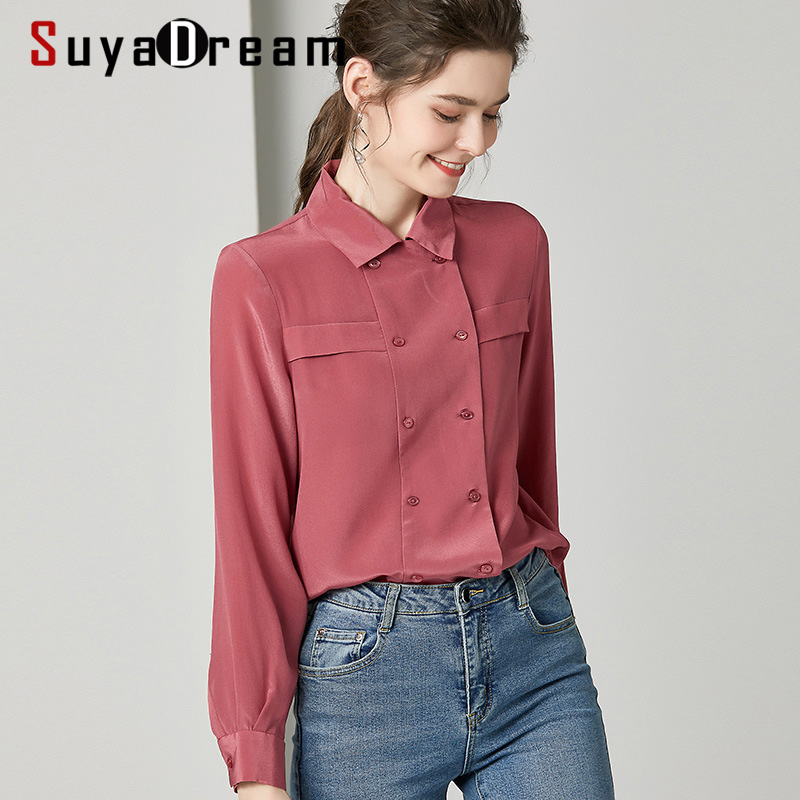 SuyaDream Women Solid   Blouses   100%Silk Crepe 2020 Spring Long Sleeved Turn Down Collar Double breasted Office   Blouse     Shirt