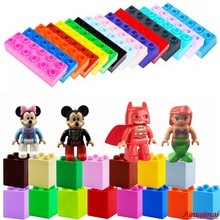 For Legoing Duploe Mickey Minnie Mouse Batman Mermaid Figures Accessory Building Blocks Toys With Brick 2x4 2x6 Legoings Duploed(China)