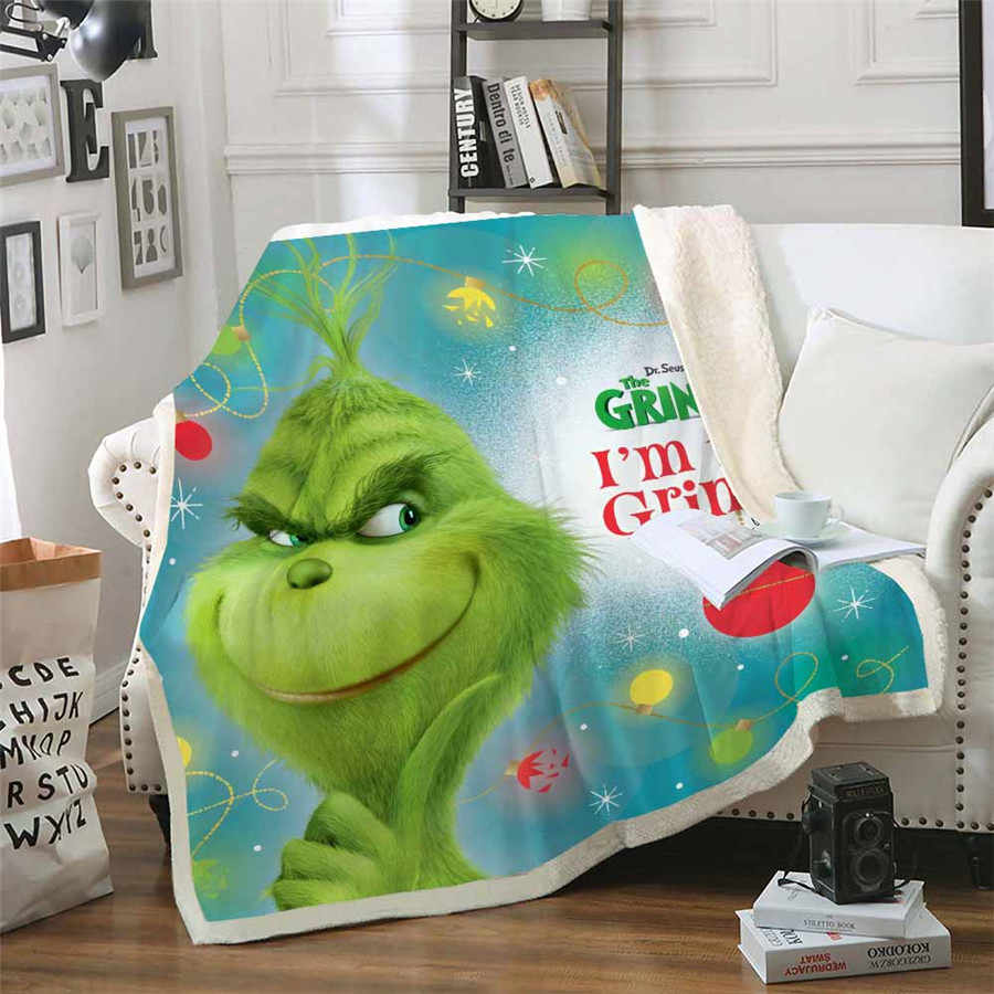 HELENGILI Grinch Stole Christmas Sherpa Blanket Bedspread Velvet Plush Soft Comfortable Home Camping Aircraft Blanket