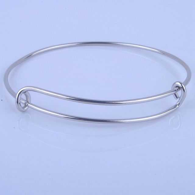 100pcs Hot Sale Metals Gold color Silver color DIY Bangle for Beads or Charms Adjustable Expandable Wire Bracelets Bangles