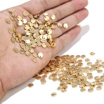 20 sztuk okrągłe złoto/różowe złoto ze stali nierdzewnej tłoczenia puste nieśmiertelniki wisiorki 6mm/8mm/10mm DIY bransoletka wisiorek biżuteria znalezienie