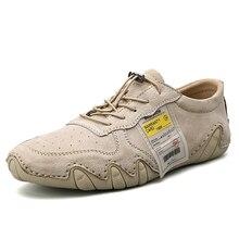 Zapatos informales de piel auténtica para hombre, mocasines a la moda, planos, cómodos, zapatos para caminar para hombre, de piel, talla grande 46
