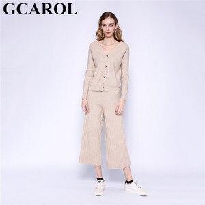 Image 1 - Gcarol新しい女性のセットvネックカーディガンとワイドレッグパンツ2個セットニット弾性ウエストパンツレジャー秋の冬服