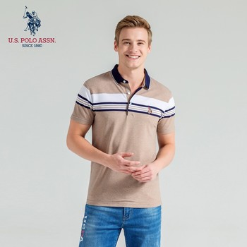 Polo Assn Letni nowy męski krótki rękaw Lapel haft Stripe amerykański klasyk Polo Shirt dla mężczyzn tanie i dobre opinie Daily SHORT Na co dzień Na wiosnę i lato CN (pochodzenie) Mieszanka bawełny REGULAR W paski oddychająca Gradient None