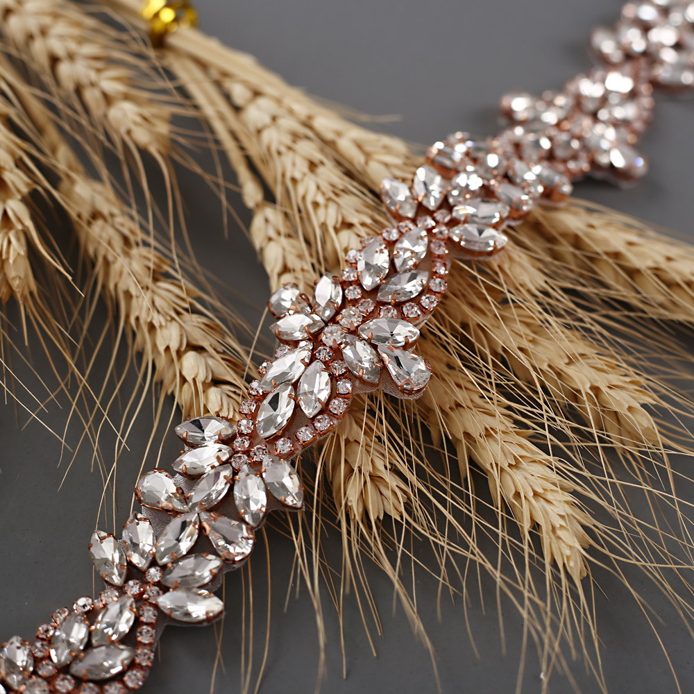 TRiXY S429 Rose Gold Rhinestones Belt Bridal Belt Diamond Wedding Dress Belt Crystal Wedding Sash For Wedding Dress Accessories