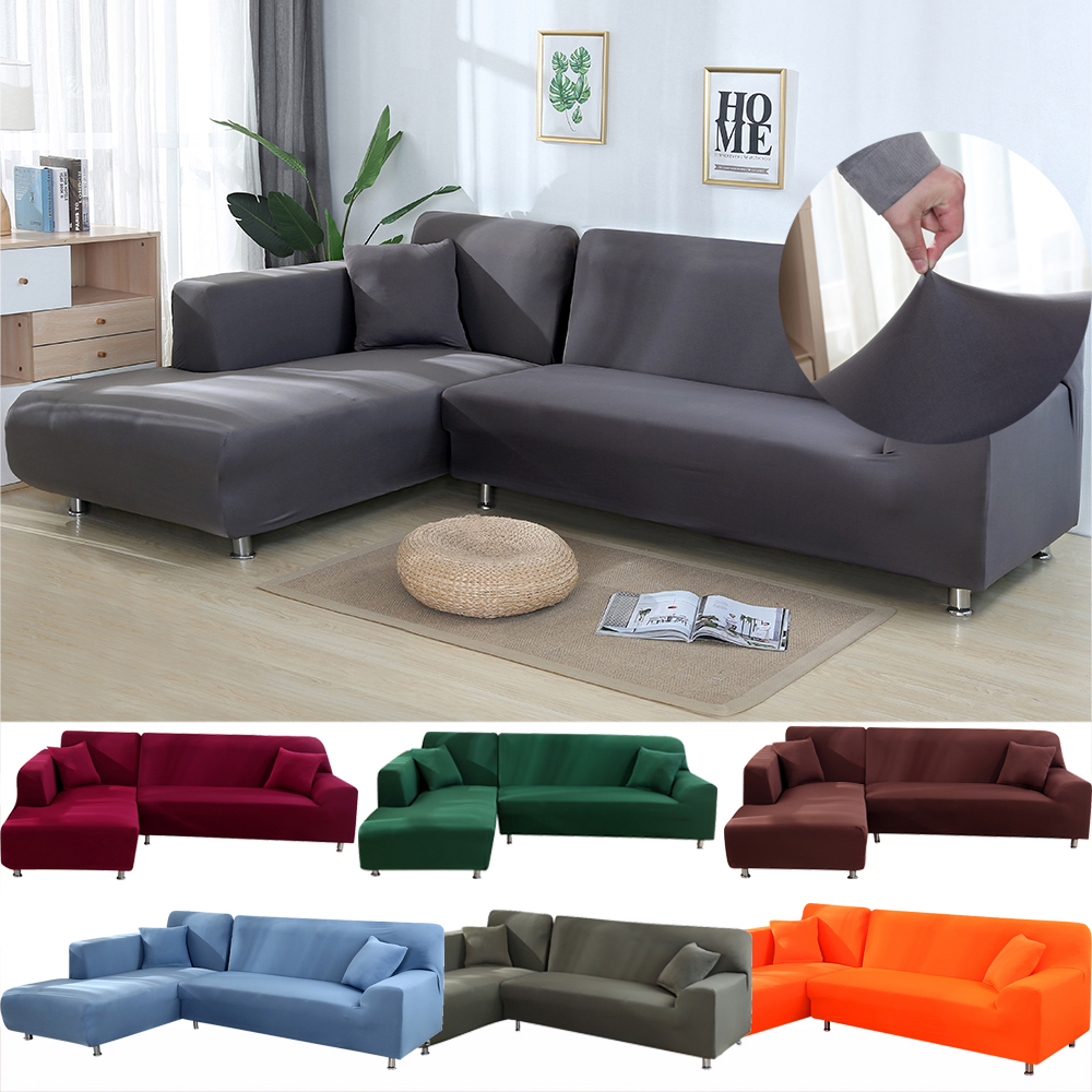 2pcs Set Sofa Covers L Shaped Sofa Living Room Sectional Chaise