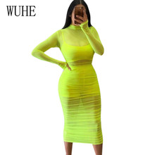WUHE Fashion Casual Mesh Perspective Slim Pencli Dress Sexy Stretch Tight Pleated Club Party Beach See Through Hollow Out