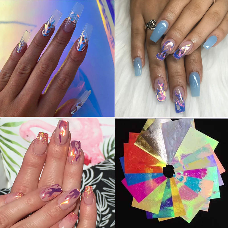Nail Vinyls Stickers Stencil Nail-Art-Decoration Manicure Fire-Flame Holographic Hollow