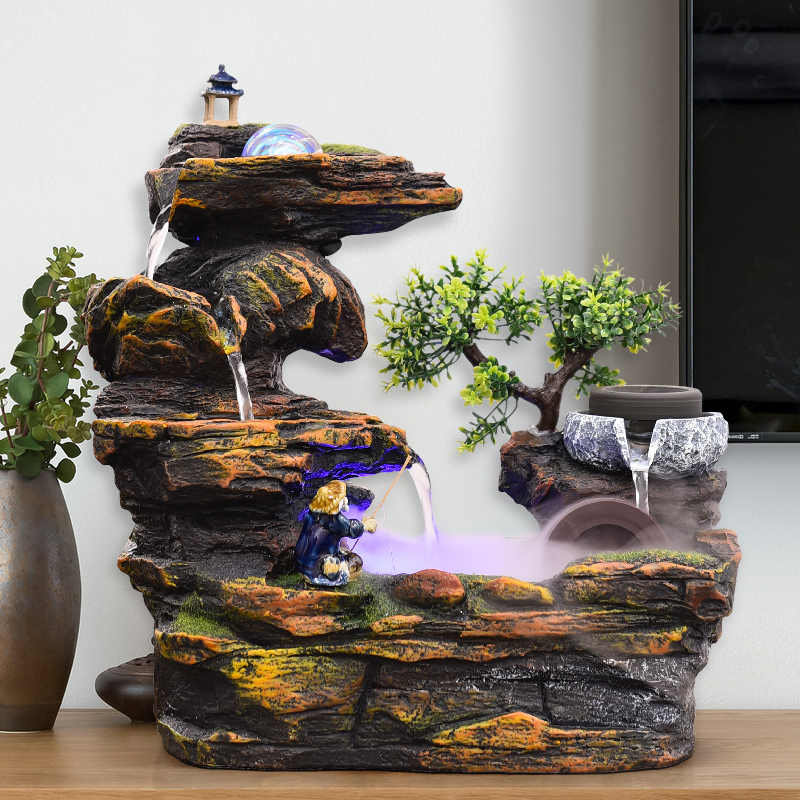 110V/220V Rockery Water Fountain Decoration Indoor Desktop Fountains  Waterfall Feng Shui Wheel Home Decor Accessories Lucky Gift|Figurines &  Miniatures| - AliExpress