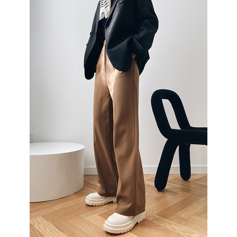 Mooirue Khaki Women Suit Pants Autumn Winter New Simple High Waist Straight Wide Leg Suit Pants Casual Trousers For Women