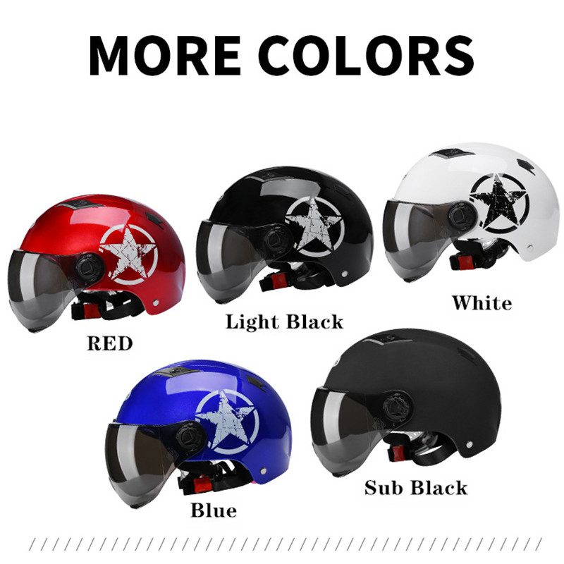 Motorcycle Helmets Half Helmet Scooter Motor Crash Helmet Bye Helmets for Moto Bike Sunshade Sun Protection Summer Unisex Abs 6