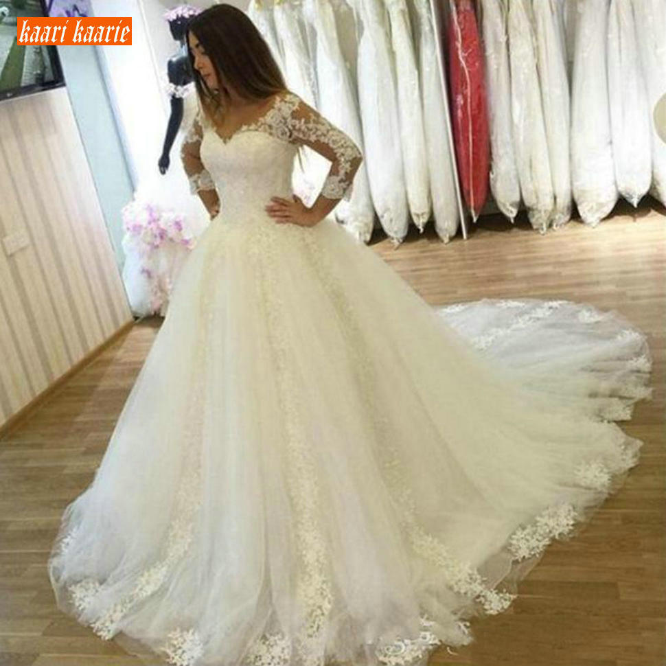 Luxury White Princess Ball Gown Wedding Dresses Long Sleeve Plus Size Wedding Gowns Tulle Lace Applique Sweep Train Bride Dress Buy At The Price Of 131 12 In Aliexpress Com Imall Com