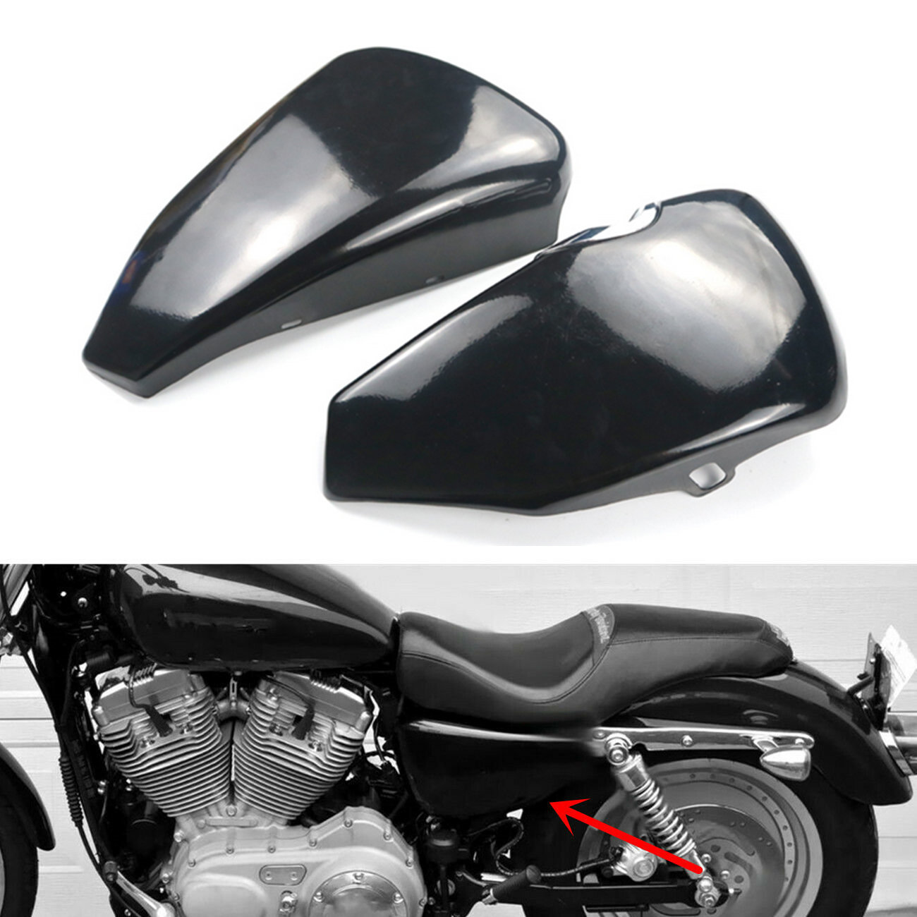 For Harley Sportster XL <font><b>Iron</b></font> <font><b>883</b></font> 1200 48 72 2014-2017 2015 2016 Motorcycle Left Right Side Battery Cover Metal Steel image