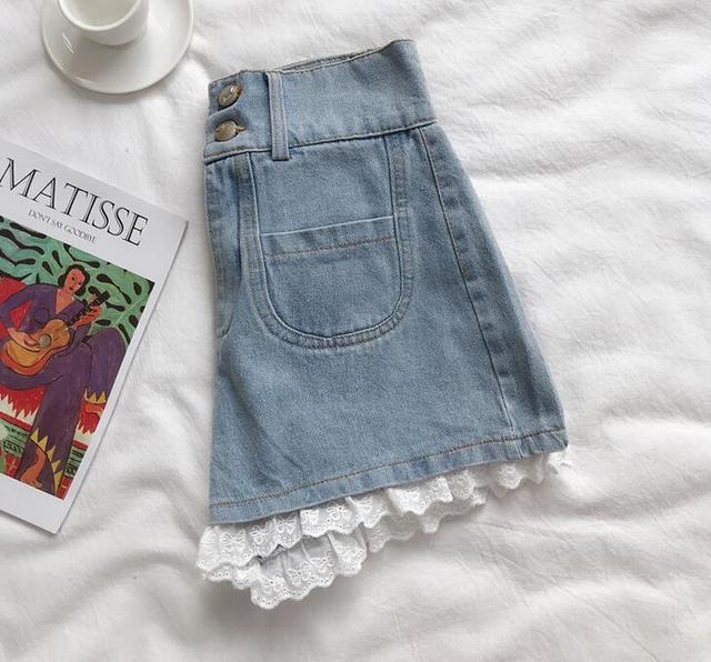 Women  Lace Angel Printed Denim Shorts Cartoon Print High Waist Shorts 2