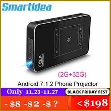 Smartldea T18 (2G + 32G) android 7.1.2 akıllı projektör Mini DLP projektör desteği AC3 HD 1080P Video Beamer Bluetooth Airplay DLNA