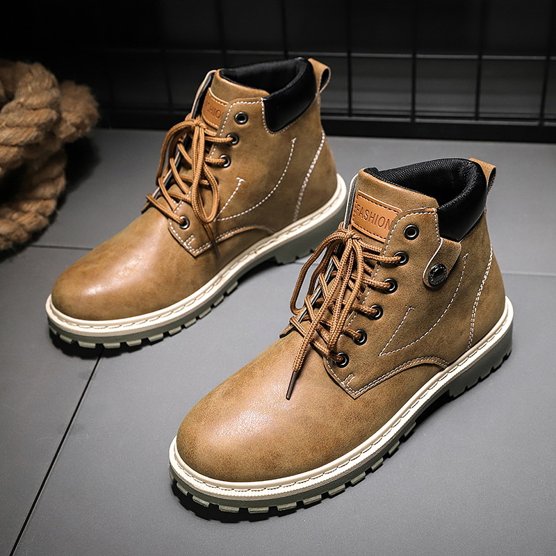 men's Martin shoes comfortable wild tide men's boots high to help trend tooling boots men's shoes retro breathable men's boots