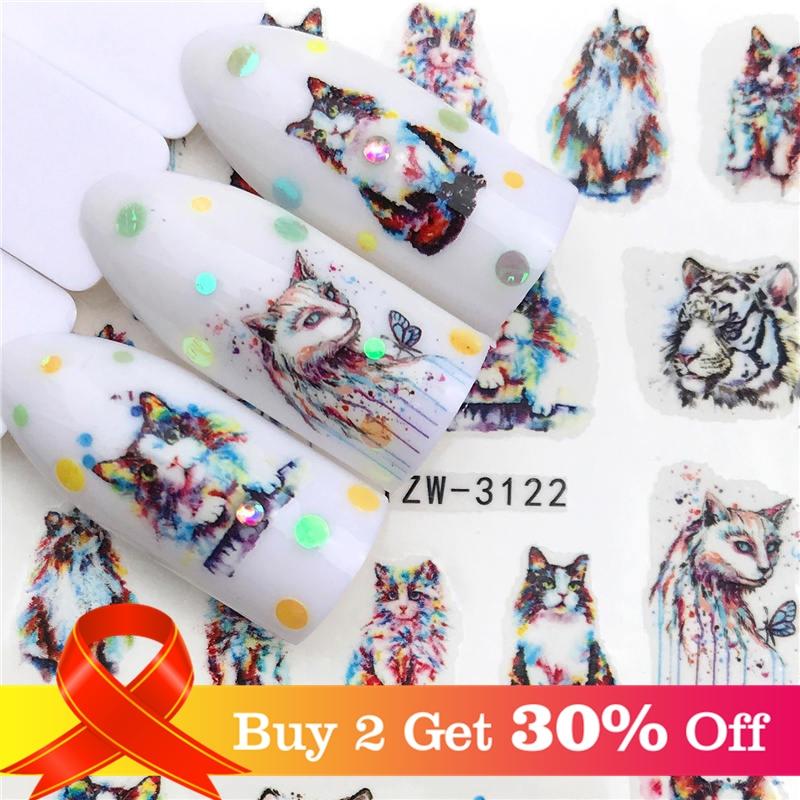 Lcj 2019 nova arrivial adesivos de unhas tigre/gato série água decalque flor planta padrão 3d manicure adesivo de água do prego adesivo