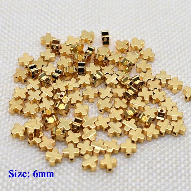 6mm Pentagram heart cross Butterfly shape Beads Metal Copper beads Gold Loose beads for Jewelry Making DIY Bracelet hole 1.7mm 4