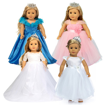 Fit 18 inch 43cm Doll Clothes American Baby New Born Girl Pink Blue White Wedding Dress Set Man's suit For Baby Birthday Gift lifelike blue eyes 18 inch girl american doll full vinyl princess dolls with blue nursing clothing set children birthday gift