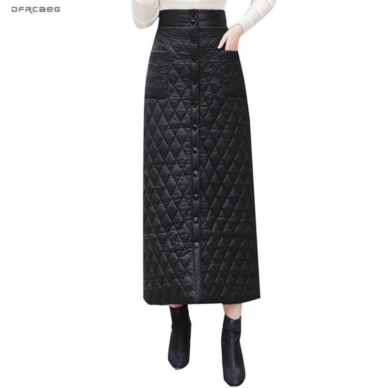2019 Inverno Plus Size de Algodão Para Baixo Quente Saia Longa Mulheres Saias Lápis de Cintura Alta Single-Breasted Streetwear Senhoras Saia longa