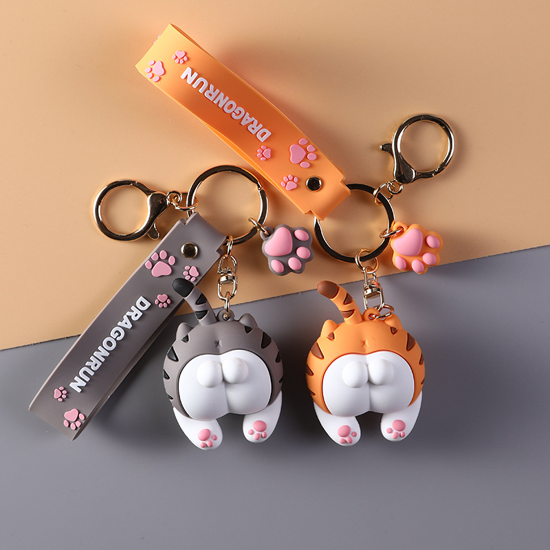 Cute Orange Gray Cat Butt Key Chains Pvc Lovely Cats Ass Keychain Car Bag Animal Bell Pendant Keyring Women Jewelry Gift
