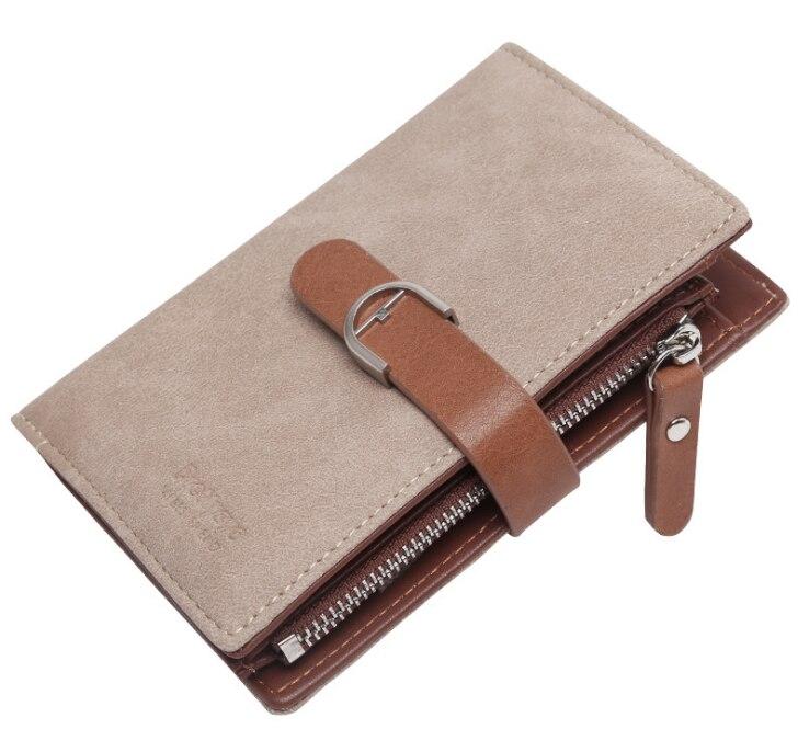 Новейший женский кожаный винтажный кошелек, брендовый дизайнерский кошелек на молнии для монет, кошельки, держатель для карт, клатч для девочек - Цвет: Apricot