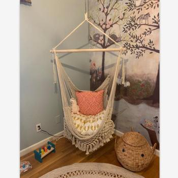 Hanging Rope Chair Swing Chair Seat Hammock Bohemian Mesh Woven White Swing Garden Hang Chair Indoor Outdoor Furniture Hammock cotton rope garden swing chair thicken portable hammock with foot pad wooden indoor outdoor swing relax camping hang chair seat