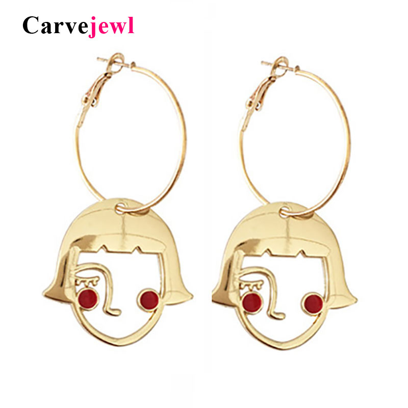 Carvejewl High quality Shy Girl Face Outline Alloy Drop Earring enamel Originality Jewelry Abstract Hollow Face dangle Earrings
