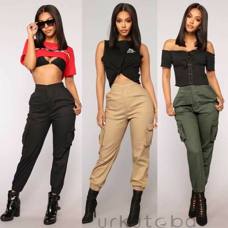New Women's Casual Cargo High Waist Trousers Military Army Combat Leggings Pencil Pants Black Khaki Army Green Loose Sports