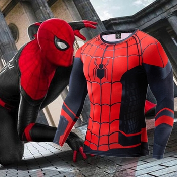 2020 Fashion Spider-Man Far From Home Cosplay Compression Premium Print Costume T-shirt Finess Gym Quick-Drying Tight Tops - discount item  40% OFF Tops & Tees