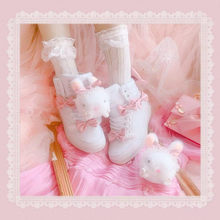 Cute sweet rabbit bow white boots High-top casual shoes increase Vintage Sweet Lolita Shoes Victoria Kawaicos Lolita lolii(China)