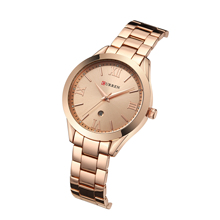 CURREN Women Watch Rose Gold Stainless Steel Girl Quartz Wrist Watches Gift Clock Female Calendar Water Resistant Montre Femme все цены