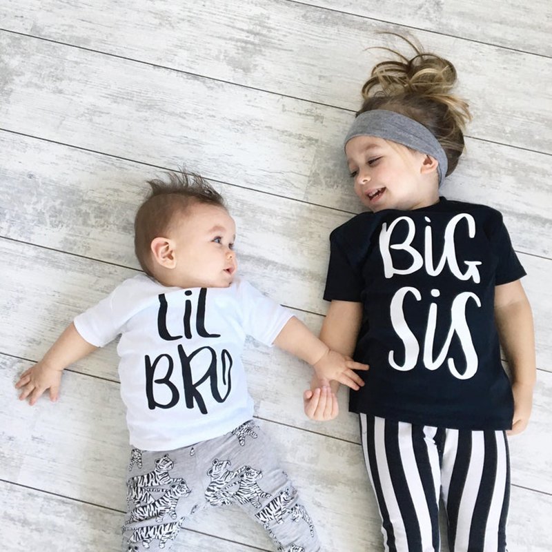 Big Sister & Little Brother Outfit Kids Boys Girls T Shirt Newborn Baby Bodysuit Jumpsuit Outfit Sibling Matching T-Shirt Outfit