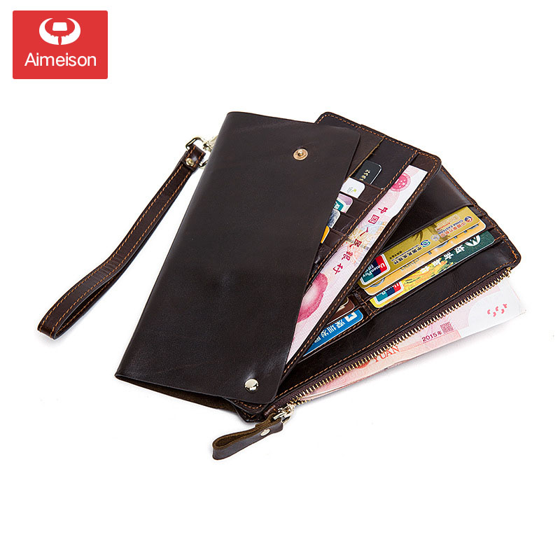 Wallet Male Genuine Leather Men's Wallets for Credit Card Holder Clutch Male bags Coin Purse Men Genuine leather ASB021