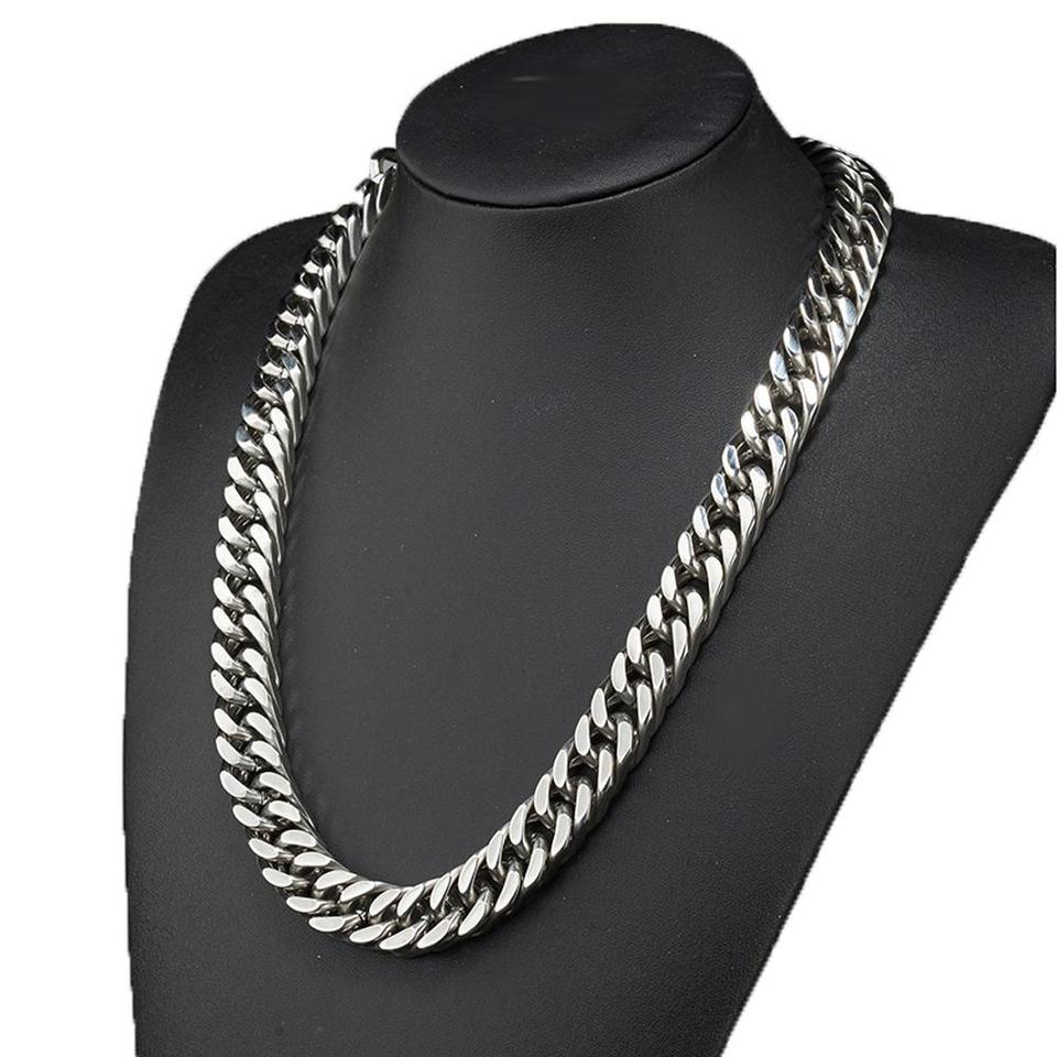 Fashion 6//8//10//12//15//17//19mm Black Stainless Steel Mens Curb Link Chain Bracelet